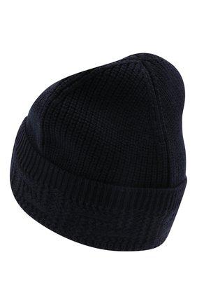 Мужская шерстяная шапка VERSACE темно-синего цвета, арт. 1002528/1A01655 | Фото 2 (Материал: Шерсть; Кросс-КТ: Трикотаж)