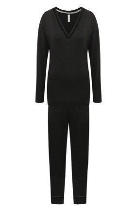 Женская пижама SIMONEPERELE темно-серого цвета, арт. 19S903-19S660   Фото 1 (Рукава: Длинные; Материал внешний: Хлопок, Лиоцелл; Длина (для топов): Стандартные; Длина (брюки, джинсы): Стандартные; Длина Ж (юбки, платья, шорты): Мини)