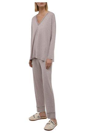 Женская пижама SIMONEPERELE бежевого цвета, арт. 19S903-19S660   Фото 1 (Материал внешний: Хлопок, Лиоцелл; Длина (брюки, джинсы): Стандартные; Длина Ж (юбки, платья, шорты): Мини; Рукава: Длинные; Длина (для топов): Стандартные)