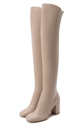 Женские кожаные ботфорты GIANVITO ROSSI светло-бежевого цвета, арт. G80343.85RIC.VGIM0US   Фото 1 (Материал внутренний: Натуральная кожа; Подошва: Плоская; Каблук тип: Устойчивый; Каблук высота: Высокий; Высота голенища: Высокие)