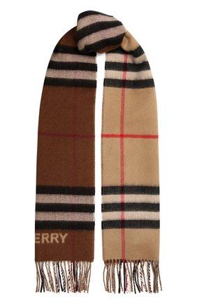 Женский кашемировый шарф BURBERRY бежевого цвета, арт. 8045329   Фото 1 (Материал: Кашемир, Шерсть)