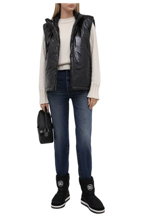 Женские текстильные сапоги DOLCE & GABBANA черного цвета, арт. CK1892/AQ238 | Фото 2 (Материал внутренний: Текстиль; Материал внешний: Текстиль; Подошва: Платформа; Высота голенища: Низкие; Каблук высота: Без каблука; Каблук тип: Устойчивый)
