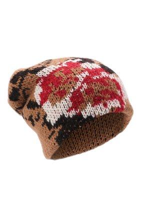 Женская шапка TAK.ORI коричневого цвета, арт. HTK51042WP037AW19 | Фото 1 (Материал: Синтетический материал, Текстиль, Шерсть)