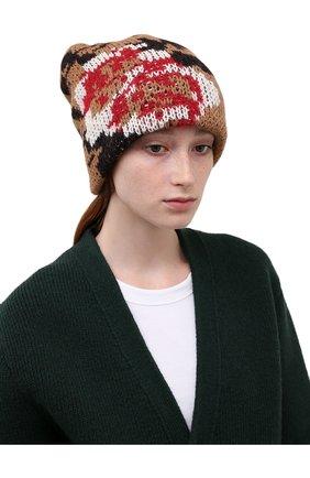 Женская шапка TAK.ORI коричневого цвета, арт. HTK51042WP037AW19 | Фото 2 (Материал: Синтетический материал, Текстиль, Шерсть)