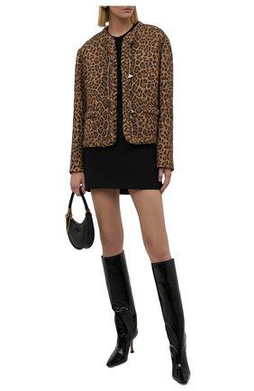 Женские кожаные сапоги chad 90 JIMMY CHOO черного цвета, арт. CHAD 90/S0P   Фото 2 (Материал внутренний: Натуральная кожа; Высота голенища: Средние; Каблук высота: Высокий; Подошва: Плоская; Каблук тип: Шпилька)