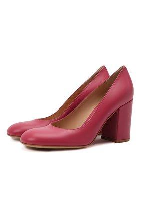 Женские кожаные туфли GIANVITO ROSSI фуксия цвета, арт. G22011.85RIC.VITHIBI   Фото 1 (Материал внутренний: Натуральная кожа; Каблук высота: Высокий; Подошва: Плоская; Каблук тип: Устойчивый)