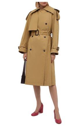 Женские кожаные туфли GIANVITO ROSSI фуксия цвета, арт. G22011.85RIC.VITHIBI   Фото 2 (Материал внутренний: Натуральная кожа; Каблук высота: Высокий; Подошва: Плоская; Каблук тип: Устойчивый)