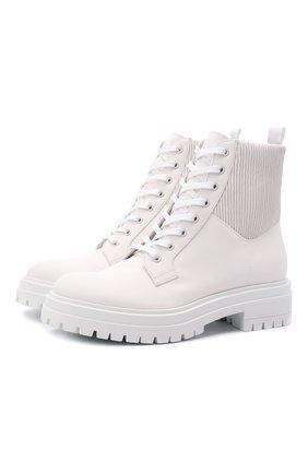Женские комбинированные ботинки GIANVITO ROSSI молочного цвета, арт. G73884.20G0M.DCEBIBB   Фото 1 (Каблук высота: Низкий; Материал внутренний: Натуральная кожа; Подошва: Платформа; Материал внешний: Текстиль; Женское Кросс-КТ: Военные ботинки)
