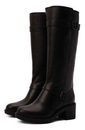 Женские кожаные сапоги GIANVITO ROSSI темно-коричневого цвета, арт. G80342.45G0M.CLYM0M0   Фото 1 (Высота голенища: Средние; Каблук высота: Средний; Материал утеплителя: Натуральный мех; Подошва: Платформа; Каблук тип: Устойчивый)