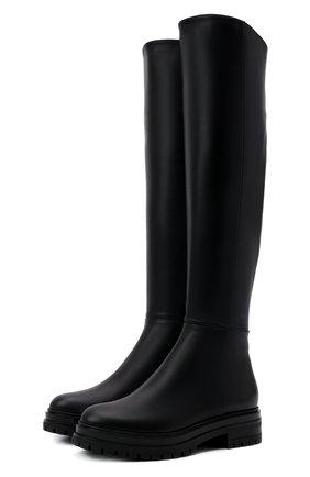 Женские кожаные сапоги GIANVITO ROSSI черного цвета, арт. G80364.20G0M.CLYNENE   Фото 1 (Высота голенища: Высокие; Материал утеплителя: Натуральный мех; Подошва: Платформа; Каблук высота: Низкий; Каблук тип: Устойчивый)
