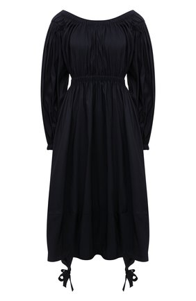 Женское платье ALEXANDER MCQUEEN темно-синего цвета, арт. 678367/QEACM | Фото 1 (Рукава: Длинные; Материал внешний: Синтетический материал; Стили: Гламурный; Случай: Повседневный; Женское Кросс-КТ: Платье-одежда; Длина Ж (юбки, платья, шорты): До колена)