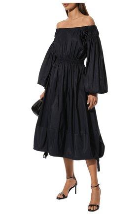 Женское платье ALEXANDER MCQUEEN темно-синего цвета, арт. 678367/QEACM | Фото 2 (Рукава: Длинные; Материал внешний: Синтетический материал; Стили: Гламурный; Случай: Повседневный; Женское Кросс-КТ: Платье-одежда; Длина Ж (юбки, платья, шорты): До колена)