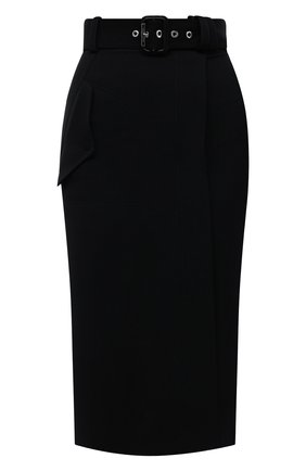 Женская шерстяная юбка ALEXANDER MCQUEEN черного цвета, арт. 677854/QJACH | Фото 1 (Материал подклада: Синтетический материал; Длина Ж (юбки, платья, шорты): Миди; Материал внешний: Шерсть; Стили: Гламурный; Женское Кросс-КТ: Юбка-одежда)
