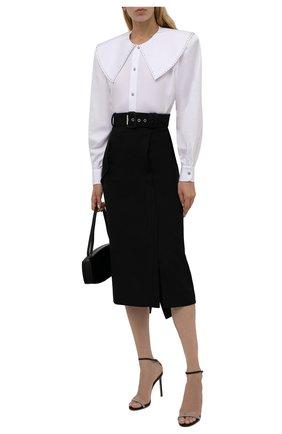 Женская шерстяная юбка ALEXANDER MCQUEEN черного цвета, арт. 677854/QJACH | Фото 2 (Материал подклада: Синтетический материал; Длина Ж (юбки, платья, шорты): Миди; Материал внешний: Шерсть; Стили: Гламурный; Женское Кросс-КТ: Юбка-одежда)