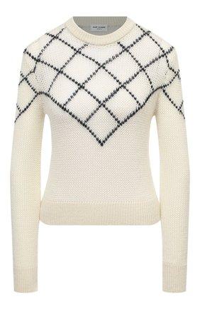 Женский пуловер SAINT LAURENT кремвого цвета, арт. 597133/YAJM2 | Фото 1 (Длина (для топов): Стандартные; Материал внешний: Шерсть; Рукава: Длинные; Стили: Кэжуэл; Женское Кросс-КТ: Пуловер-одежда)