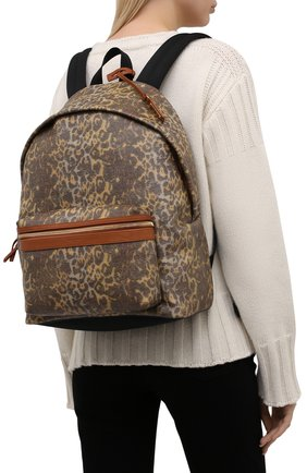 Женский рюкзак city medium SAINT LAURENT леопардового цвета, арт. 534967/24A2W | Фото 2 (Материал: Текстиль; Размер: medium; Стили: Кэжуэл)