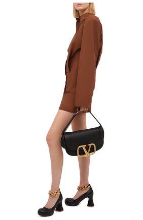Женские кожаные туфли groove STELLA MCCARTNEY черного цвета, арт. 800435/KP039 | Фото 2 (Материал внутренний: Текстиль; Материал внешний: Экокожа; Каблук высота: Высокий; Подошва: Плоская; Каблук тип: Устойчивый)