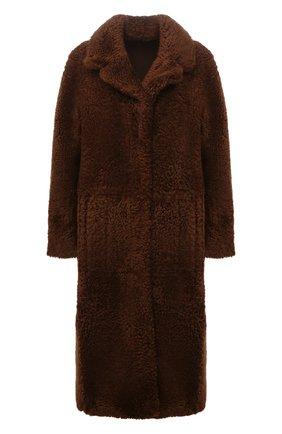 Женская шуба из овчины DROME темно-коричневого цвета, арт. DPD5804P/D2076P   Фото 1 (Материал внешний: Натуральный мех; Рукава: Длинные; Длина (верхняя одежда): Длинные; Стили: Гламурный; Женское Кросс-КТ: Мех)