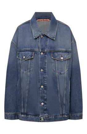 Женская джинсовая куртка ACNE STUDIOS голубого цвета, арт. C90077/W   Фото 1 (Рукава: Длинные; Длина (верхняя одежда): До середины бедра; Материал внешний: Хлопок; Стили: Минимализм; Кросс-КТ: Деним, Куртка)
