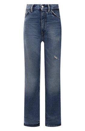 Женские джинсы ACNE STUDIOS тёмно-голубого цвета, арт. A00309   Фото 1 (Длина (брюки, джинсы): Стандартные; Материал внешний: Хлопок; Стили: Минимализм; Кросс-КТ: Деним; Силуэт Ж (брюки и джинсы): Прямые)