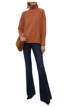 Женский кашемировый пуловер ZIMMERMANN светло-коричневого цвета, арт. 1876TRC0N | Фото 2 (Длина (для топов): Стандартные; Рукава: Длинные; Материал внешний: Шерсть, Кашемир; Стили: Кэжуэл; Женское Кросс-КТ: Пуловер-одежда)
