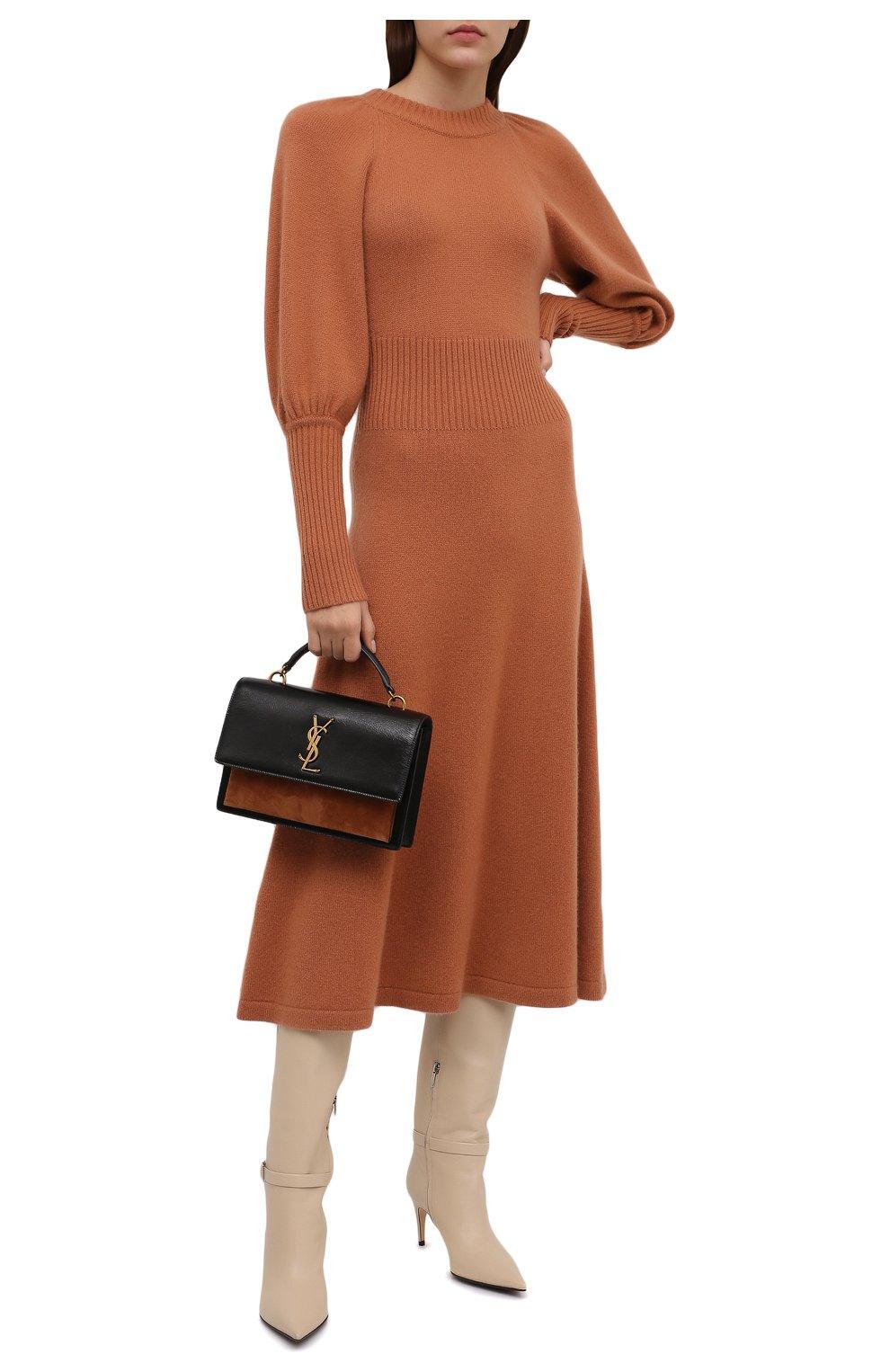 Женское кашемировое платье ZIMMERMANN бежевого цвета, арт. 1974DRC0N | Фото 2 (Материал внешний: Шерсть, Кашемир; Рукава: Длинные; Случай: Повседневный; Длина Ж (юбки, платья, шорты): Миди; Женское Кросс-КТ: Платье-одежда; Стили: Кэжуэл)