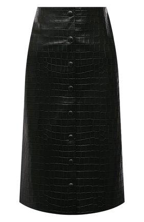 Женская кожаная юбка CHLOÉ темно-зеленого цвета, арт. CHC21ACJ01202   Фото 1 (Длина Ж (юбки, платья, шорты): До колена; Материал подклада: Вискоза; Стили: Гламурный; Женское Кросс-КТ: Юбка-одежда)