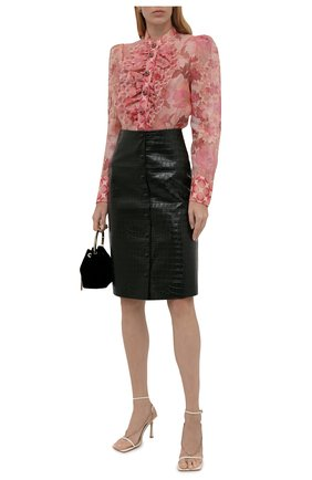 Женская кожаная юбка CHLOÉ темно-зеленого цвета, арт. CHC21ACJ01202   Фото 2 (Длина Ж (юбки, платья, шорты): До колена; Материал подклада: Вискоза; Стили: Гламурный; Женское Кросс-КТ: Юбка-одежда)