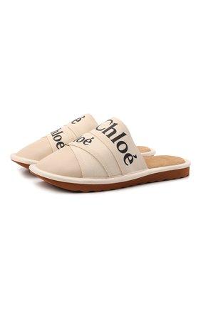 Женского домашние туфли woody CHLOÉ белого цвета, арт. CHC21A489R4   Фото 1 (Подошва: Платформа; Материал внутренний: Натуральная кожа)