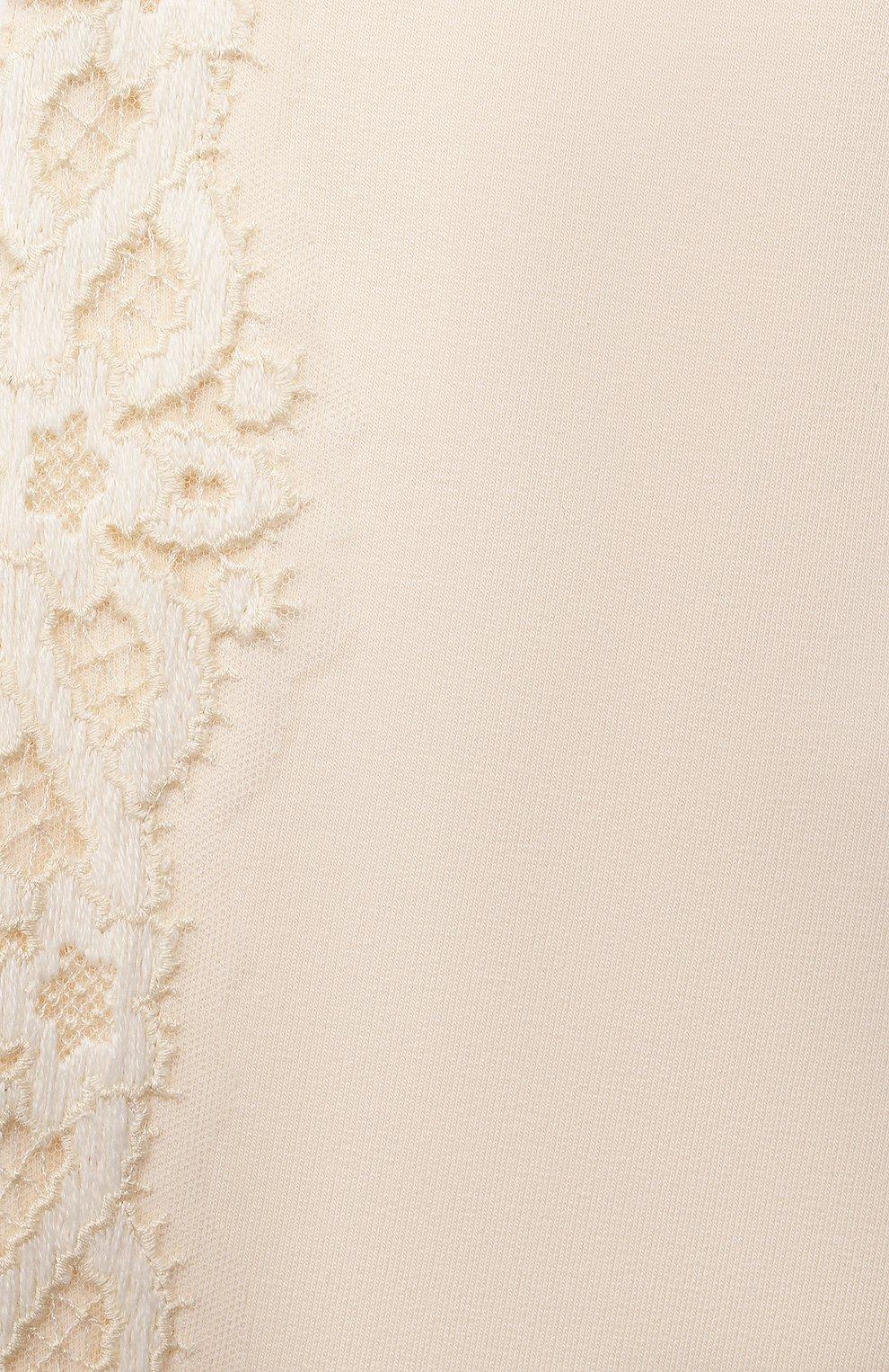 Детские хлопковые джоггеры ERMANNO SCERVINO кремвого цвета, арт. ESFPA018 FE147 YS001/XXS-S | Фото 3 (Материал внешний: Хлопок; Девочки Кросс-КТ: Брюки-спорт)