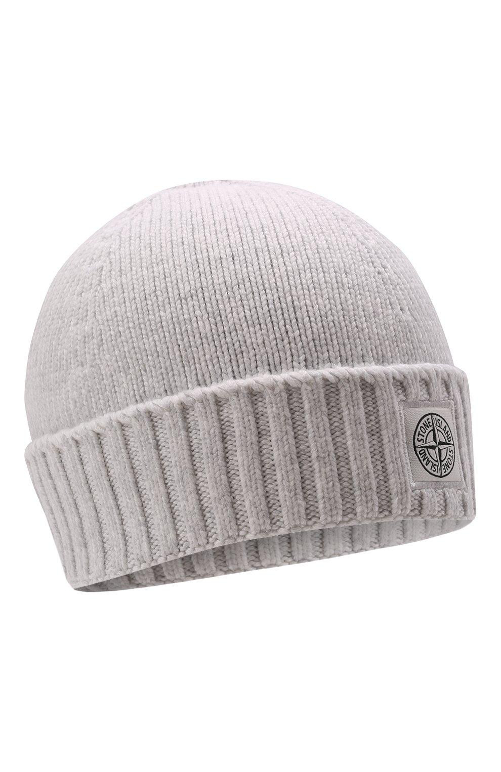 Детского хлопковая шапка STONE ISLAND светло-серого цвета, арт. 7516N04A9   Фото 1 (Материал: Текстиль, Хлопок)