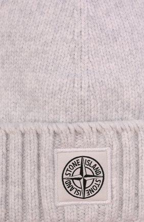 Детского хлопковая шапка STONE ISLAND светло-серого цвета, арт. 7516N04A9   Фото 3 (Материал: Текстиль, Хлопок)