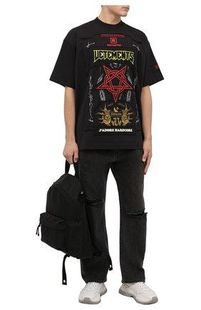 Мужская хлопковая футболка VETEMENTS черного цвета, арт. UA52TR680X 1612/M   Фото 2 (Длина (для топов): Удлиненные; Материал внешний: Хлопок; Рукава: Короткие; Принт: С принтом; Стили: Панк)