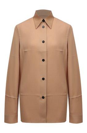 Женская шерстяная рубашка JIL SANDER бежевого цвета, арт. JSWT605206-WT202500 | Фото 1 (Стили: Минимализм; Материал внешний: Шерсть; Принт: Без принта; Рукава: Длинные; Длина (для топов): Стандартные, Удлиненные; Женское Кросс-КТ: Рубашка-одежда)
