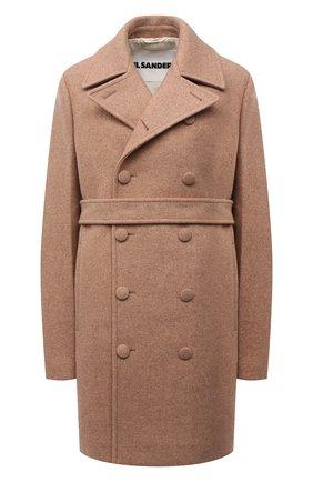 Женское шерстяное пальто JIL SANDER бежевого цвета, арт. JSWT415124-WT200100 | Фото 1 (Стили: Минимализм; Материал подклада: Вискоза; Длина (верхняя одежда): До середины бедра; Рукава: Длинные; Материал внешний: Шерсть; 1-2-бортные: Двубортные)