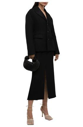 Женская шерстяная юбка BOTTEGA VENETA черного цвета, арт. 659561/VKIS0 | Фото 2 (Длина Ж (юбки, платья, шорты): Миди; Стили: Гламурный; Материал внешний: Шерсть; Женское Кросс-КТ: Юбка-одежда)