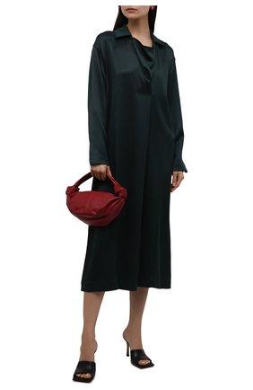 Женское шелковое платье BOTTEGA VENETA темно-зеленого цвета, арт. 664004/VKKA0   Фото 2 (Стили: Гламурный; Рукава: Длинные; Материал внешний: Шелк; Длина Ж (юбки, платья, шорты): Миди; Случай: Формальный; Женское Кросс-КТ: Платье-одежда)