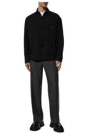 Мужские кожаные лоферы monolith PRADA черного цвета, арт. 2DE129-B4L-F0002 | Фото 2 (Стили: Кэжуэл)