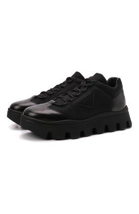 Мужские комбинированные ботинки PRADA черного цвета, арт. 2EE353-3KZP-F0002-G000 | Фото 1 (Материал внешний: Текстиль; Мужское Кросс-КТ: Ботинки-обувь)