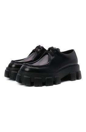 Мужские кожаные дерби PRADA черного цвета, арт. 2EE355-B4L-F0002 | Фото 1 (Стили: Классический)