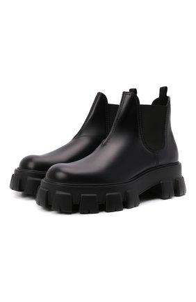 Мужские кожаные челси monolith PRADA черного цвета, арт. 2TE174-B4L-F0002 | Фото 1 (Мужское Кросс-КТ: Сапоги-обувь, Челси-обувь)