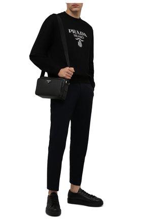 Мужские кожаные кеды PRADA черного цвета, арт. 4E3560-A21-F0002 | Фото 2