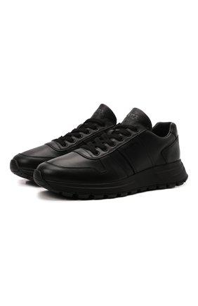 Мужские кожаные кроссовки prax 01 PRADA черного цвета, арт. 4E3581-3LEM-F0002-G000 | Фото 1 (Стили: Классический)