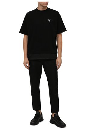 Мужские кожаные кроссовки prax 01 PRADA черного цвета, арт. 4E3581-3LEM-F0002-G000 | Фото 2 (Стили: Классический)