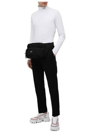 Мужская поясная сумка PRADA черного цвета, арт. 2VH038-2DW3-F0002-YOO | Фото 2 (Материал: Текстиль)