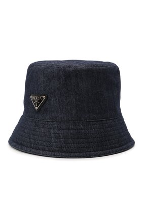 Мужская джинсовая панама PRADA темно-синего цвета, арт. 2HC137-AJ6-F0008   Фото 1 (Материал: Текстиль, Хлопок)