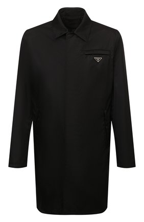 Мужской плащ PRADA черного цвета, арт. SGB008-1WQ8-F0002-191 | Фото 1 (Материал внешний: Синтетический материал; Стили: Минимализм; Длина (верхняя одежда): До середины бедра; Мужское Кросс-КТ: Плащ-верхняя одежда)
