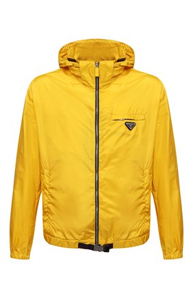 Мужская куртка PRADA желтого цвета, арт. SGB929-1WQ9-F0010-212 | Фото 1 (Материал внешний: Синтетический материал; Кросс-КТ: Куртка, Ветровка; Длина (верхняя одежда): Короткие; Стили: Спорт-шик)