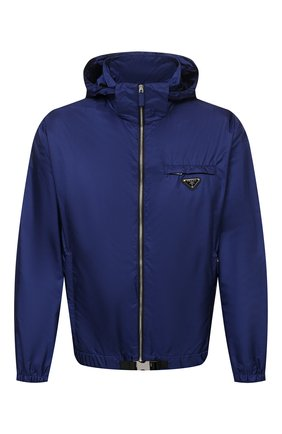 Мужская куртка PRADA синего цвета, арт. SGB929-1WQ9-F0216-212 | Фото 1 (Материал внешний: Синтетический материал; Кросс-КТ: Куртка, Ветровка; Длина (верхняя одежда): Короткие; Стили: Спорт-шик)