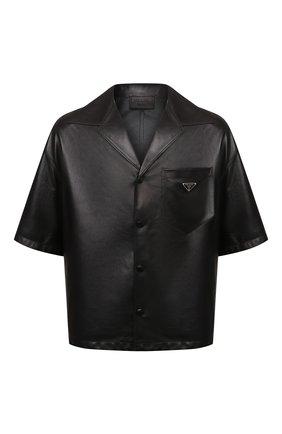 Мужская кожаная рубашка PRADA черного цвета, арт. UPC176-1WDV-F0002   Фото 1 (Случай: Повседневный; Принт: Однотонные; Рукава: Короткие; Воротник: Отложной; Стили: Минимализм)